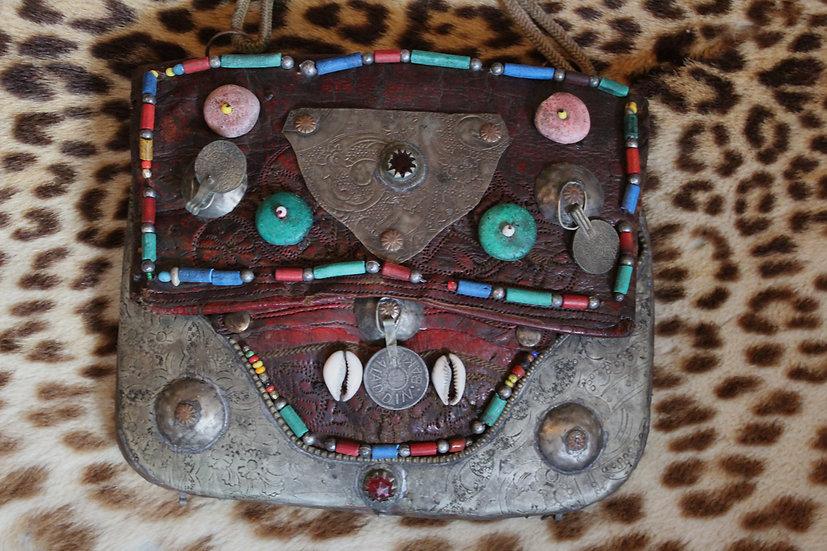 Antique Moroccan Embellished Berber Leather Berber Bag