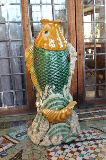 Ceramic Leaping Koi Fish Umbrella Stand