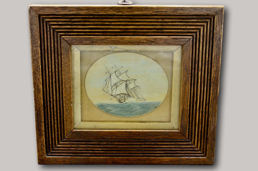 Antique Maritime Ship Painting Miniture