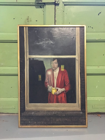 Mike Worrall Surrealist Oil on Canvas Portrait 1970