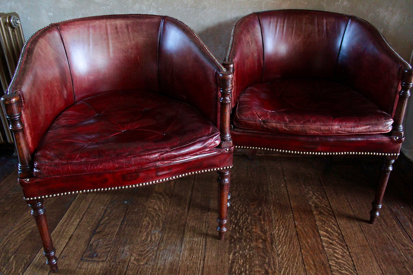 Pair Regency Leather Rosewood Library Chairs
