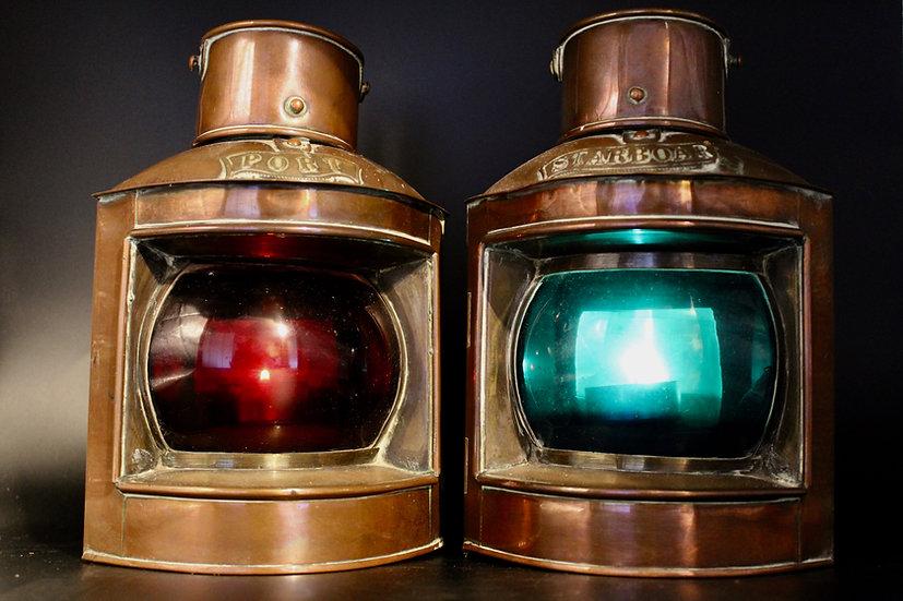 Antique Maritime Port Starboard Boat Lanterns