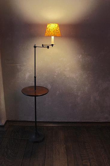 Mid-20th Century Vaughan Brass & Mahogany Adjustable Standard Lamp