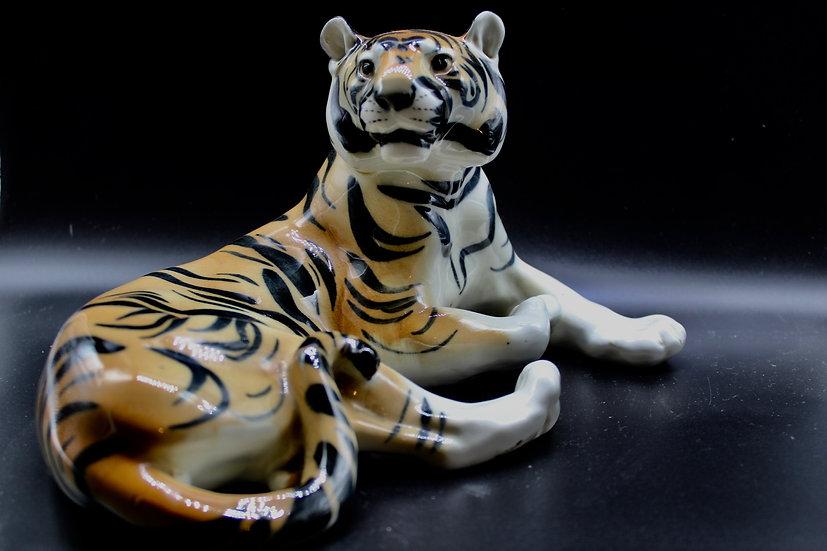 1970s Kitsch Lomonosov Porcelain Tiger Figurine