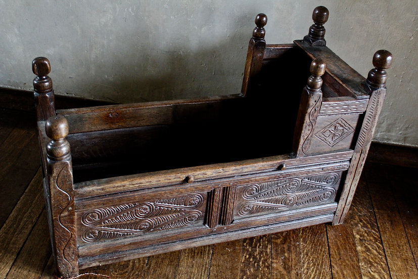 17th Century Carved Oak Cradle