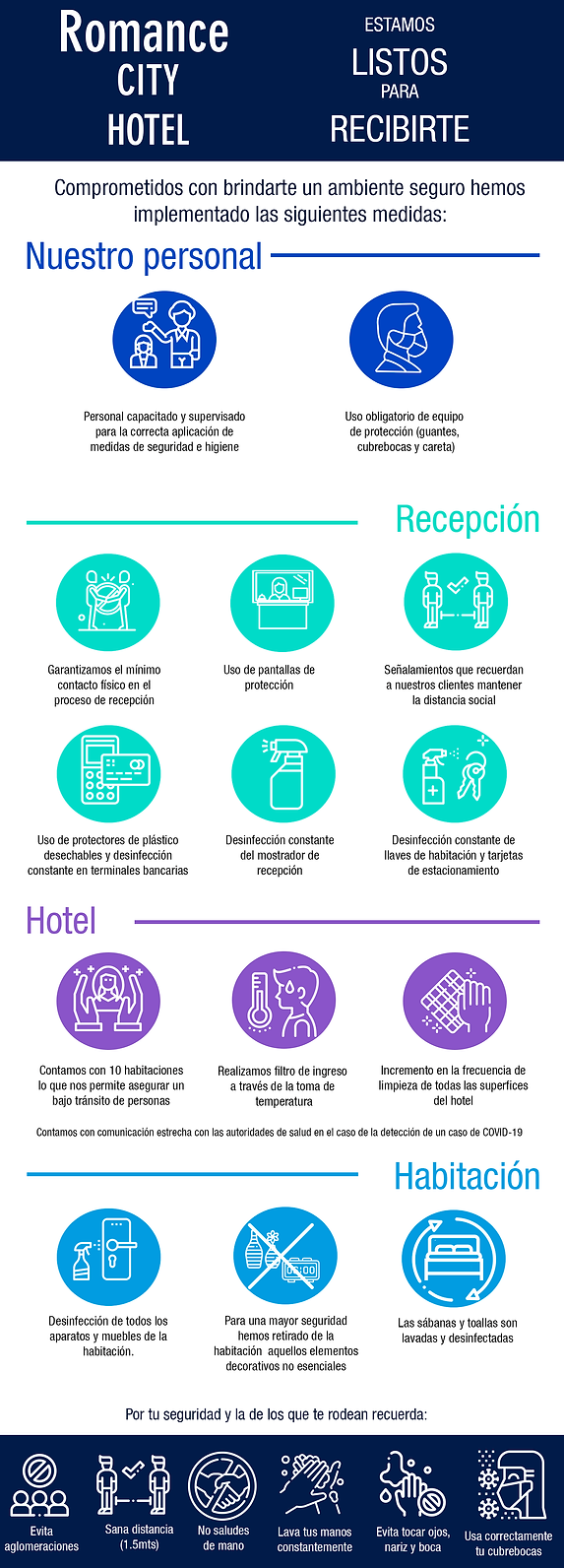 Medidas sanitarias implementadas en Hotel Romance