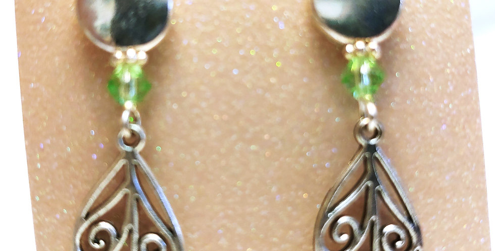Earrings -Metal beads with green glass beads
