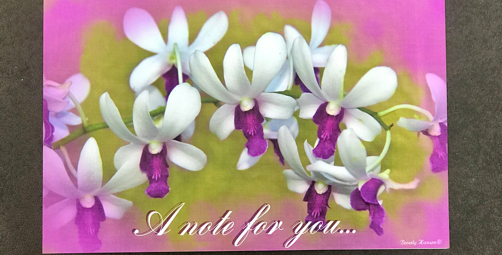 """Card, 8.5"""" x 5.5"""" - Necklace of Orchids. """"A note for you."""" Blank inside."""
