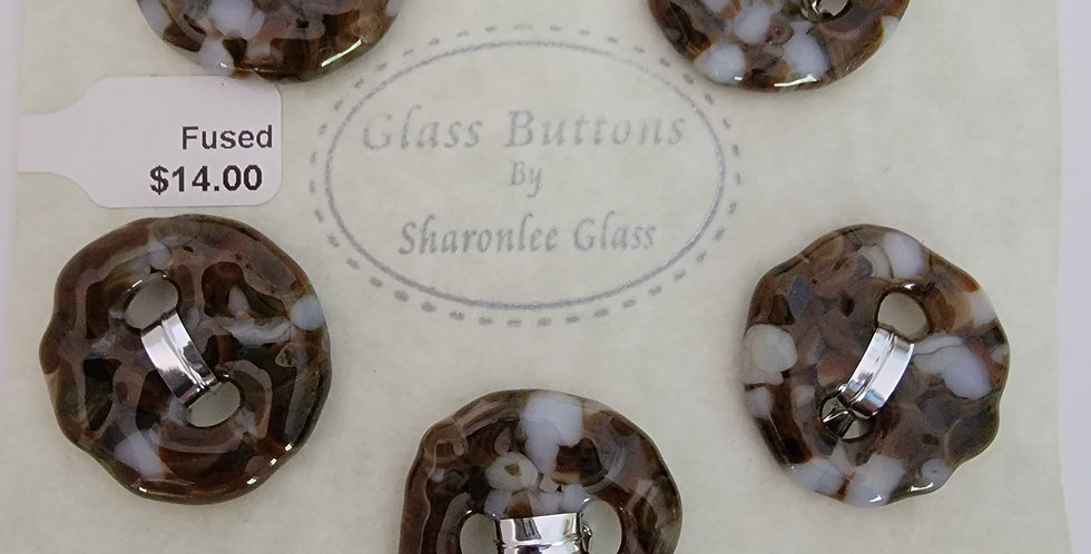 Glass Buttons, 5 round, brown and white, opaque.