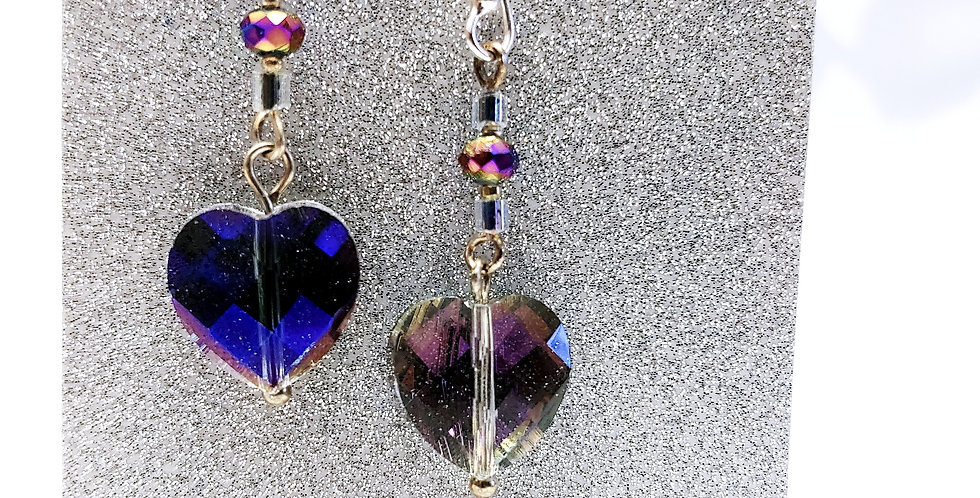 Earrings - Faceted, heart glass bead, multi-colored