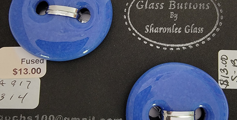 Glass Buttons 2 round, blue, opaque.