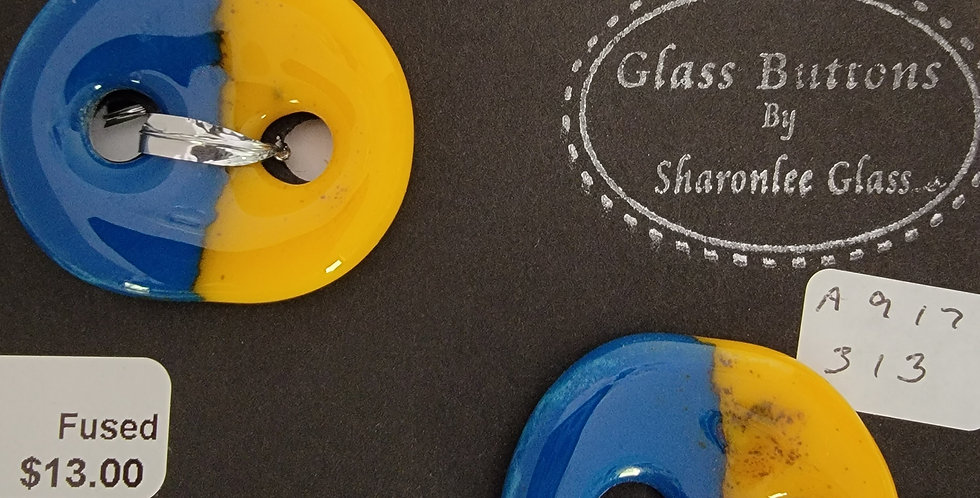 Glass Buttons,  2 round, blue/yellow, opaque