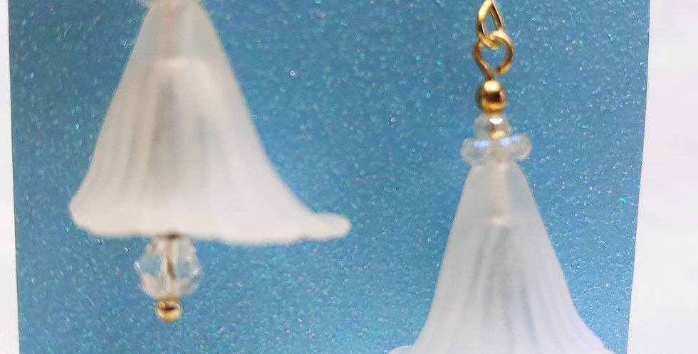 Earrings - White lily