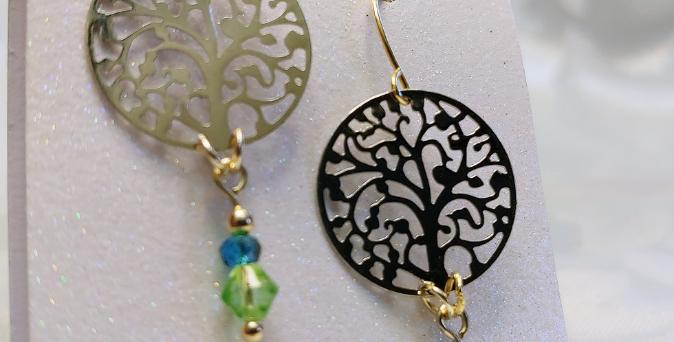 Earrings - Metal round bead with green & blue glass beads