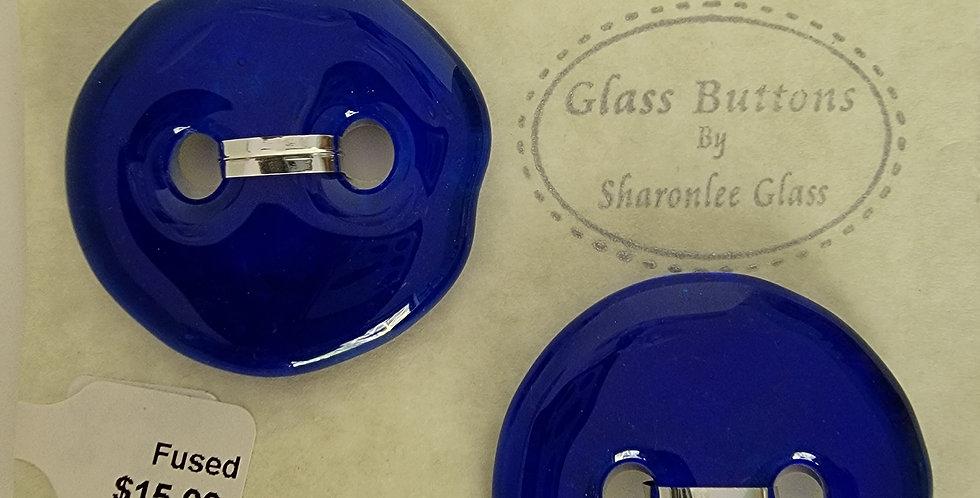 Glass Buttons, 2 round, royal blue, transparent.