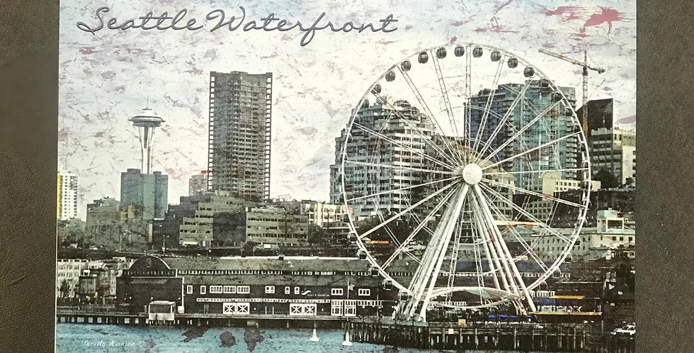 """Card, 8.5"""" x 5.5"""" - Seattle Waterfront. Blank inside"""