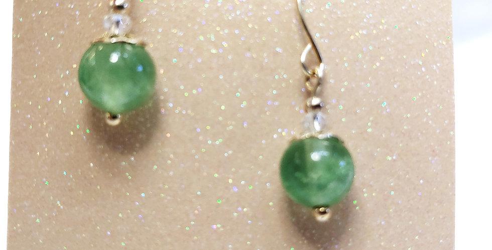 Earrings - Round, light green glass bead
