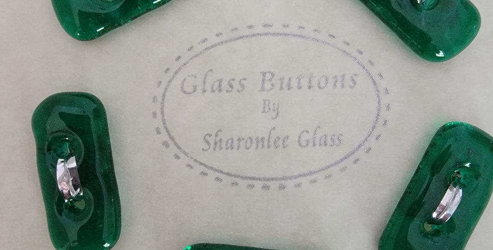 Glass Buttons 5 oblong, green, transparent.