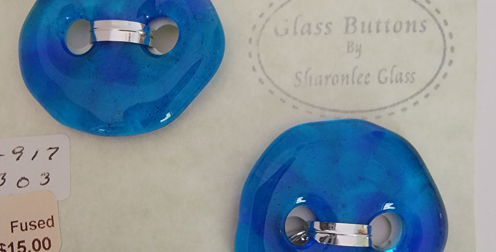 Glass Buttons,  2 round, aqua, transparent.