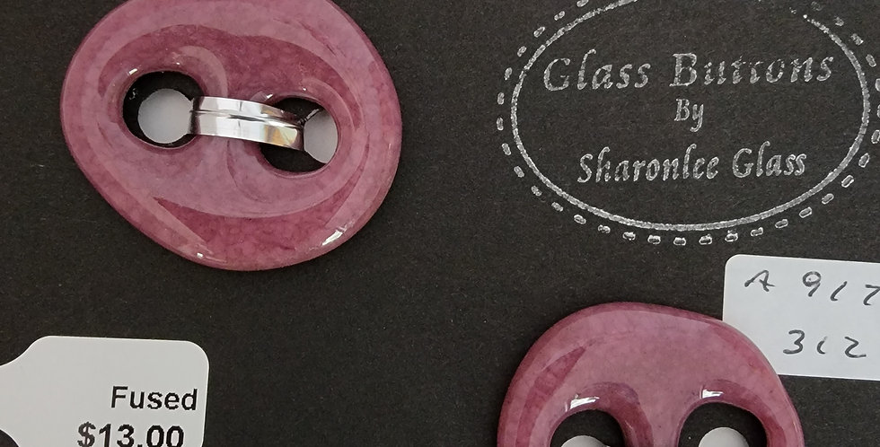 Glass Buttons, 2 round, rose-colored, opaque.