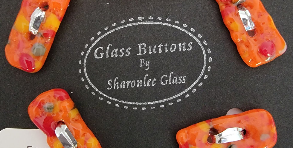 Glass Buttons 5 oblong, orange, speckled, opaque.