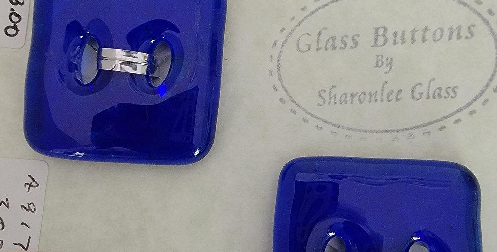 Glass Buttons,  2 square, royal blue, transparent.