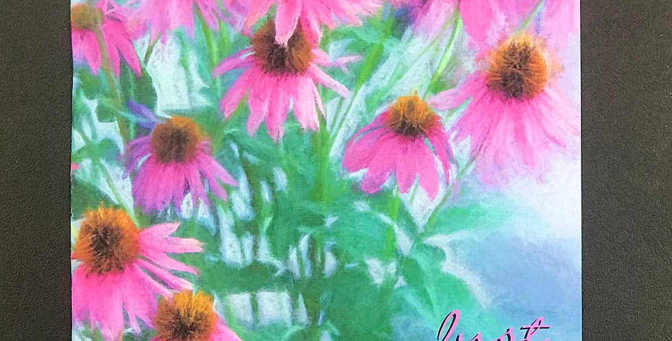 """Card, 5.5"""" x 8.5""""  - """"Just  A Note"""" Pink Golden-Eyed Susan. Blank inside"""