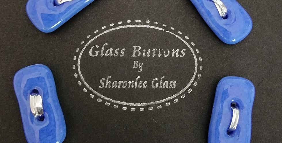 Glass Buttons 5 oblong, blue, opaque
