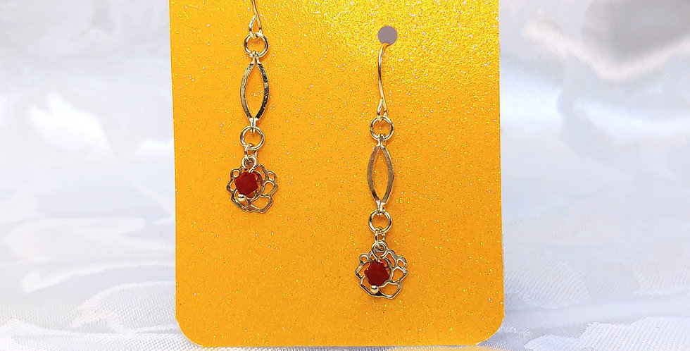 Earrings - Red glass bead with rose cutout metal bead