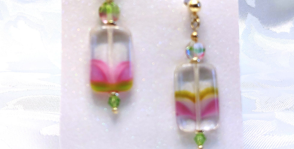Earrings - Clear, square=shaped glass bead with pinks and greens
