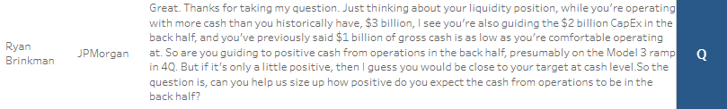 Tesla Analyst Questions -Ryan Brinkman