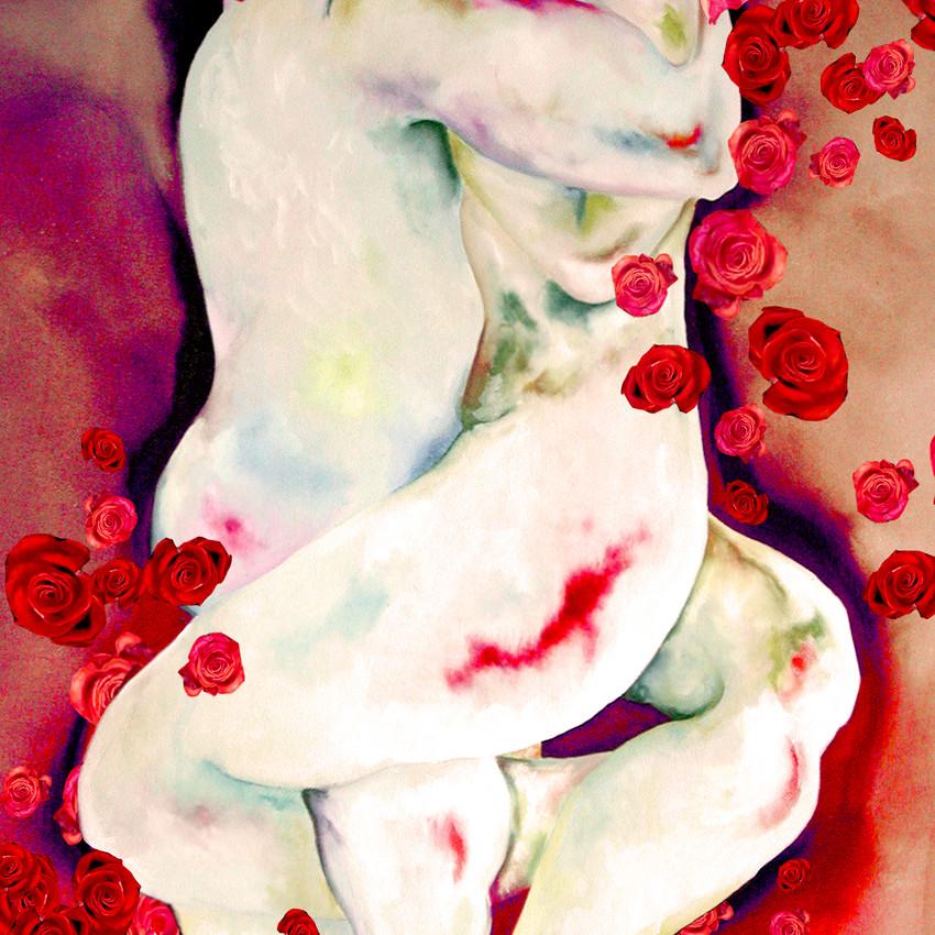 1 Amor entre Rosas-tecnica mixta