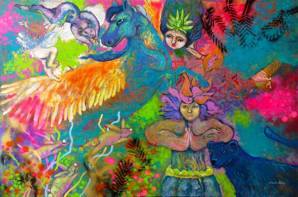 Obra en acrílico de Claudia Botero