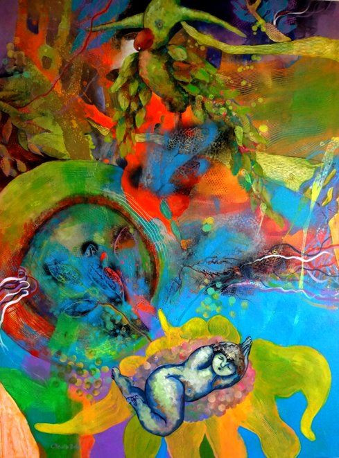 Obra de Claudia Botero. Acrilico sobre canvas.