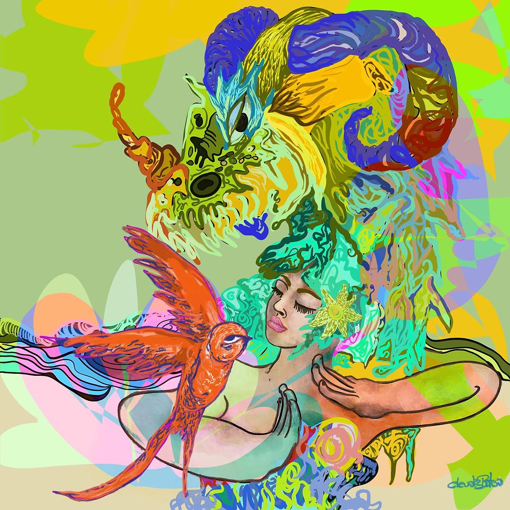 Dragón, pájaro y mujer por Claudia Botero