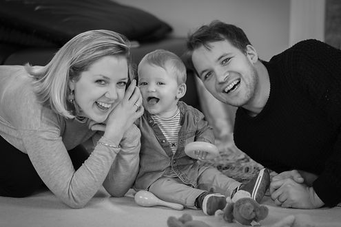 Portrait Photography - Happy Family in Black and White