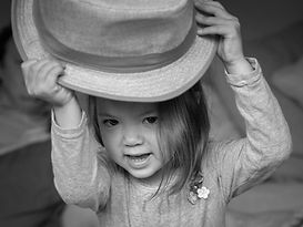 Portrait Photography - Girl in Hat in Black and White