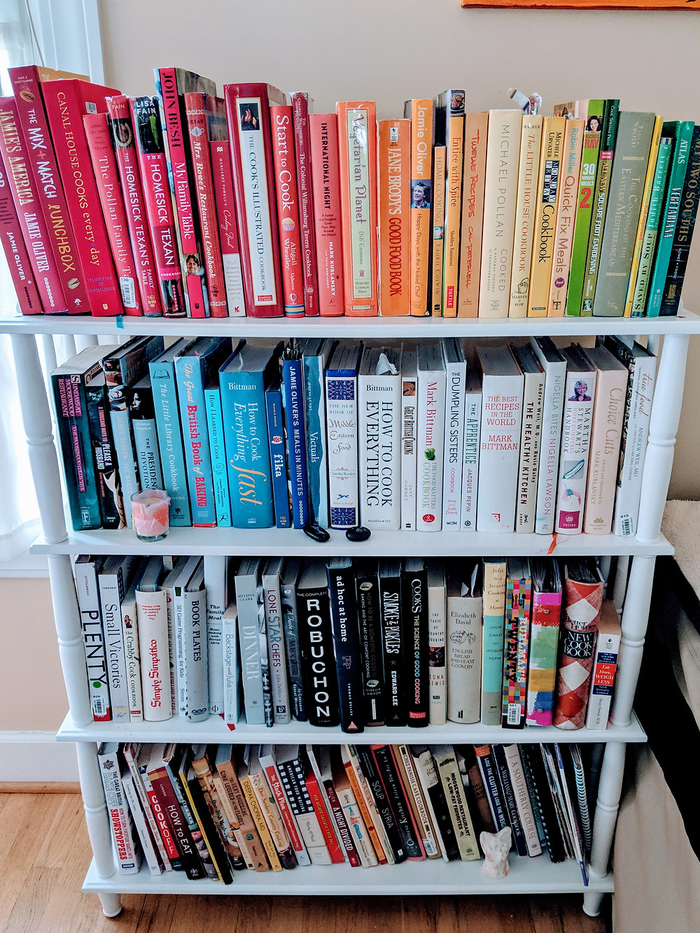 A sampling of my cookbooks...color coordinated by my daughter