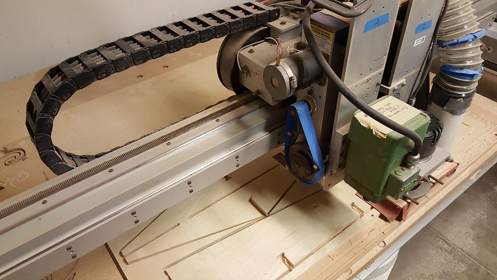 The CNC router in operation at Ace Monster Toys