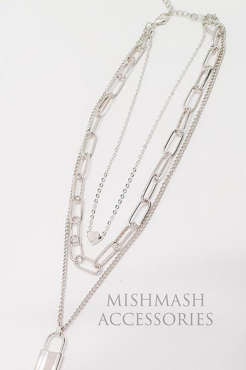 Silver Padlock Link Chain