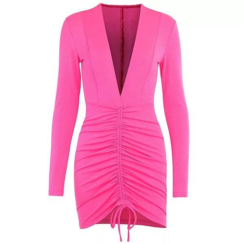 Ruched Fuchsia Bodycon Dress