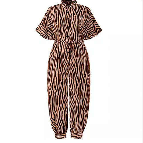 Animal Print Jumpsuit - Brown