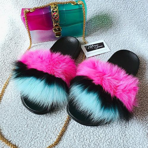 Luxury Fur Sliders and Matching Bag