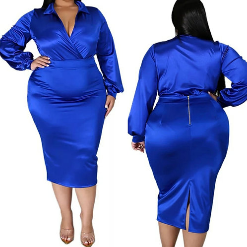 Deep-V Skirt Co-Ord - Blue