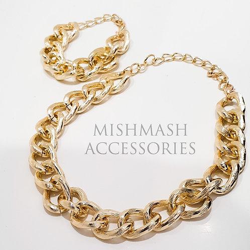 Chunky Gold Necklace and Bracelet Set
