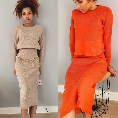 Knitted Co-Ord Nude/Orange
