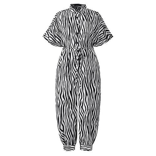 Animal Print Jumpsuit - White