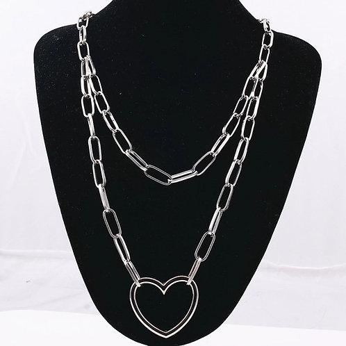 Silver Love Heart Link Chain