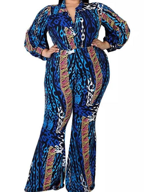 Blue Flared Jumpsuit