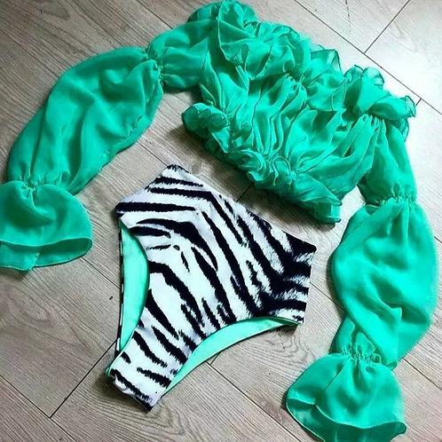 High Waisted Zebra Bikini